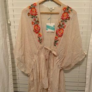 Embroidered kimono/beach coverup M/L NWT